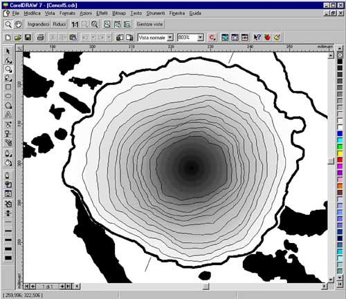 Particolare di una fase di resa vettoriale digitalizzata dei rilievi (elaborazione A. Arcà)